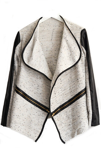 cardigan jacket asymmetrical leather knit black leather waterfall cardigan white grey leather trim fashion womans fashion lapel collar gold zipper waterfall jacket womens fashion