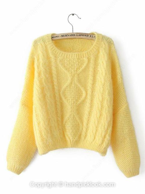 Yellow Round Neck Long Sleeve Sweater - HandpickLook.com