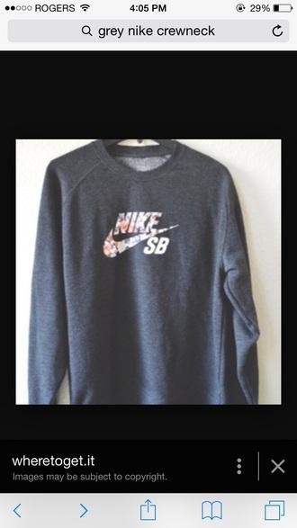 sweater nike sweater nike grey sweater grey crewneck sweatshirt crewneck