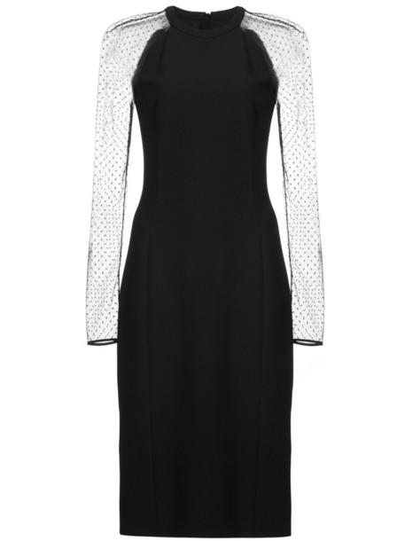 dress mesh women black silk wool
