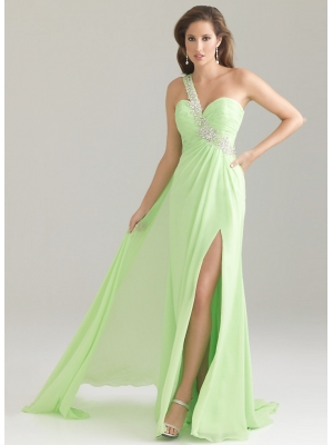 Buy Graceful A-line One-shoulder Beaded Side Split Floor Length Chiffon Evening Gown under 200-SinoAnt.com