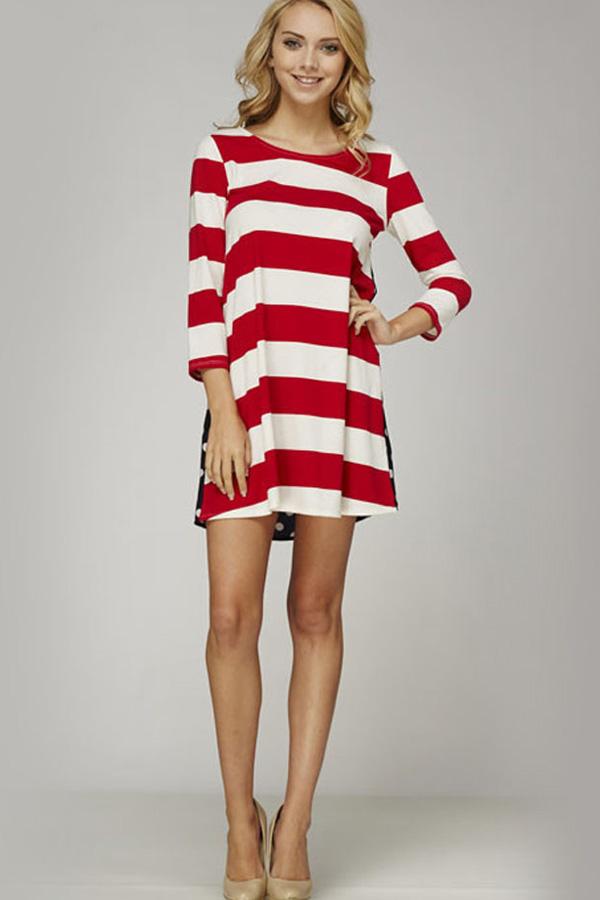 Red White Stripe Print Casual Dress