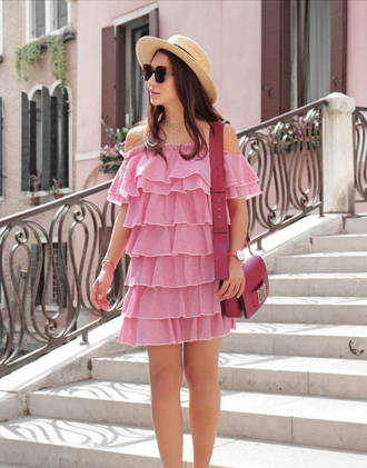 dress sunglasses hat tumblr pink dress ruffle ruffle dress off the shoulder off the shoulder dress sun hat bag pink bag