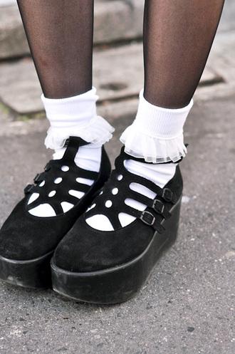 tights shoes aesthetic tumblr pale nu-goth goth harajuku black alternative socks lolita plataform