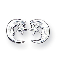 Sterling Silver Moon Star Mini Earrings - best prices at Jewelryshopping.com