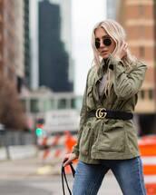 belt,tumblr,logo belt,gucci,gucci belt,jacket,army green jacket,denim,jeans,blue jeans,sunglasses