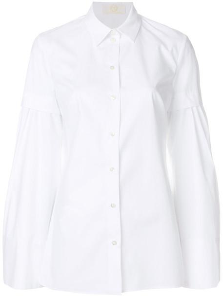 Sara Battaglia shirt women layered white cotton top