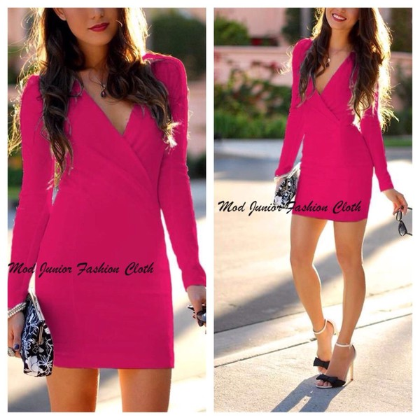 bodycon dress bodycon vneck dress v neck dress hot hot pink pink dress mini dress long sleeve dress indie style padded dress padded shoulders clubwera sexy dress little black dress