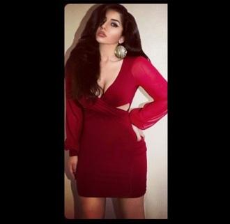 dress red fancy cutout clubwear flowy flowysleeves sheer sleeves bandage dress