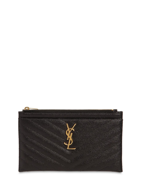 SAINT LAURENT Small Quilted Leather Clutch in black