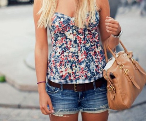 floral tank top tank top floral tube top shirt blouse floral strapless buttonup flowers top