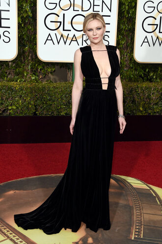 dress black dress long dress prom dress gown red carpet dress plunge v neck plunge dress kirsten dunst golden globes 2016