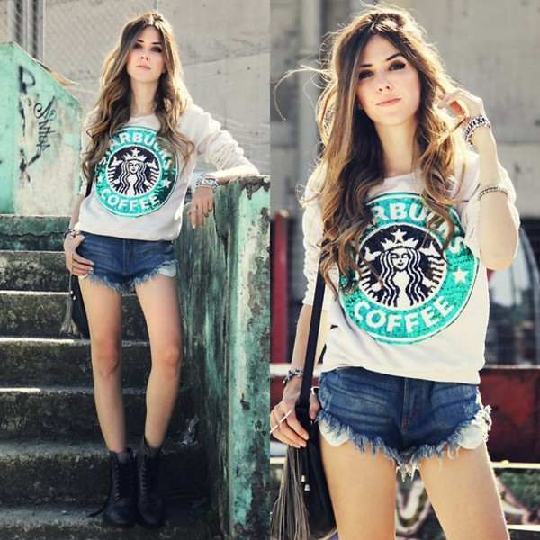 sweater t-shirt starbucks coffee t-shirt white t-shirt black and green