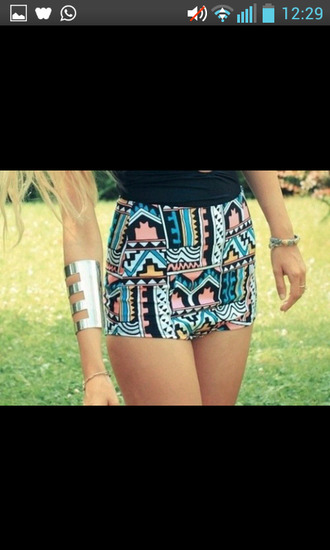 shorts high waisted shorts aztec light blue salmon cute shorts summer fashion