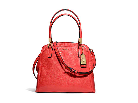 COACH Madison Leather Mini North/South Satchel Light Gold/Love Red - Zappos.com Free Shipping BOTH Ways