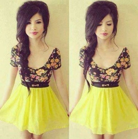 skirt yellow skirt blouse belt floral