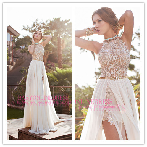 Aliexpress.com : Buy 2014 Modest Halter Backless Lace and Chiffon Beaded Sexy High Slit Top Chiffon Evening Dresses Prom Party Dress Made in China from Reliable dress warm suppliers on Suzhou Babyonlinedress Co.,Ltd