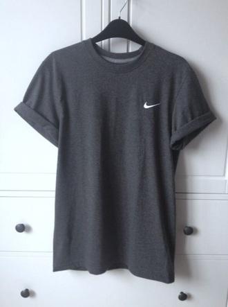 t-shirt grey t-shirt rolled up sleeve top nike pinterest