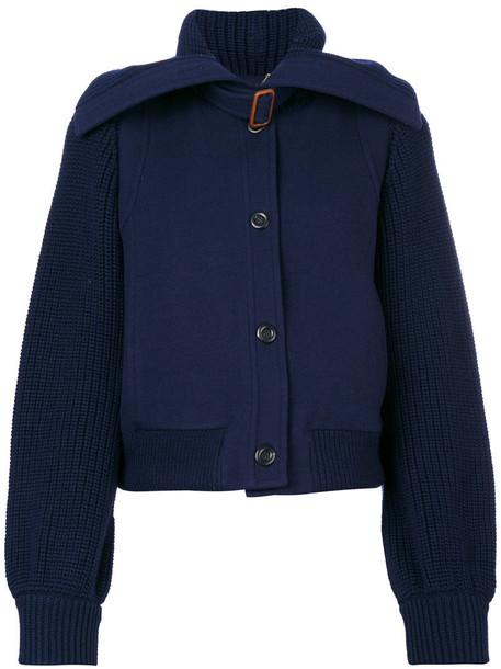 Chloé Chloé - knit panel bomber jacket - women - Spandex/Elastane/Viscose/Merino/Virgin Wool - 38, Blue, Spandex/Elastane/Viscose/Merino/Virgin Wool