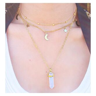 jewels gold moon necklace gold necklace necklace indie moon boho boho jewelry choker necklace stars moon and stars gold jewelry jewelry quartz crystal quartz layered
