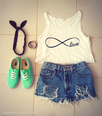 jeans vans green top scarf ripped infinity bracelets