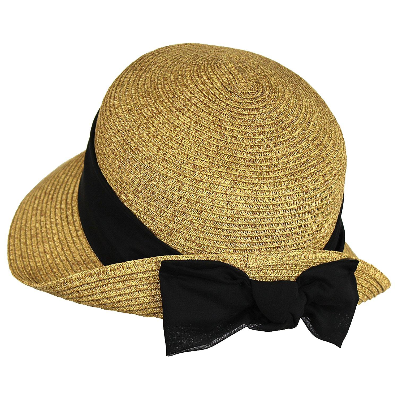 Black Sash Straw Cloche Bucket Sun Hat w/ Linen Sash & Bow - Turned Up Brim at Amazon Women's Clothing store:
