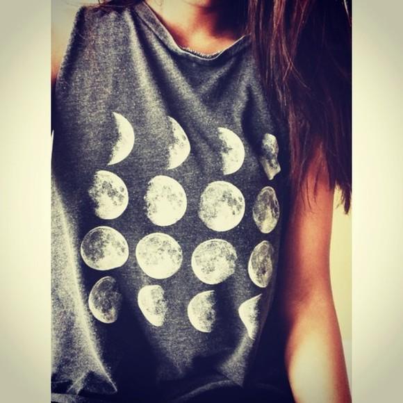 moon grey shirt moon shirt brown hair grunge t-shirt to the moon and back cute outfits cute girly shirt moon