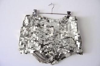 shorts pants silver/grey shiny style