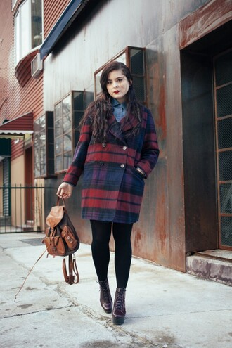 noelles favorite things blogger pea coat leather backpack platform lace up boots