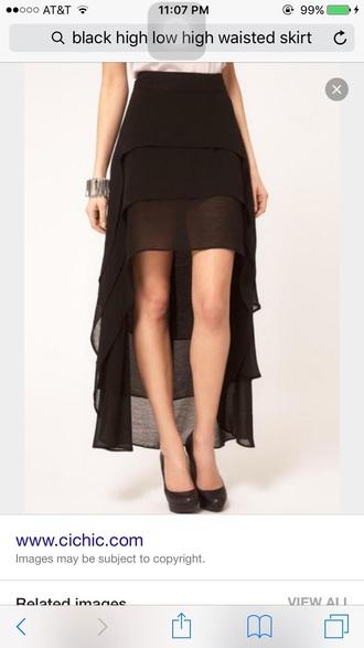 skirt high waisted skirt black skirt high low skirt