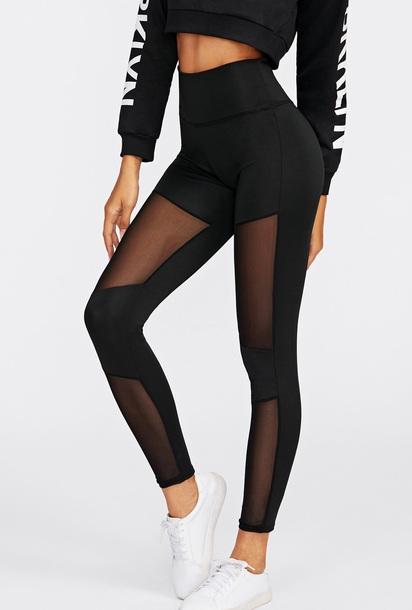 leggings girly black high heels mesh
