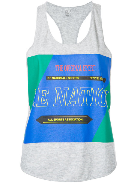P.E Nation tank top top women cotton grey