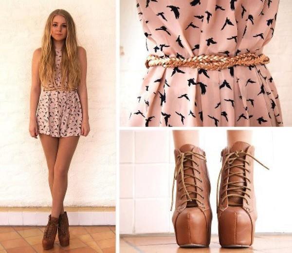 dress dress belt shoes pink birds campbell blonde hair blonde hair nice cute pink dress cute dress
