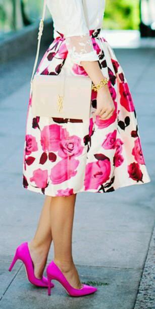 skirt floral skirt pink midi skirt floral midi skirt white spring skirt