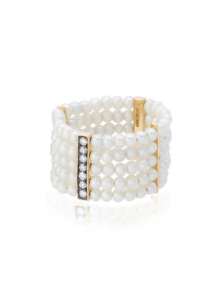ANISSA KERMICHE women pearl ring gold yellow grey metallic jewels