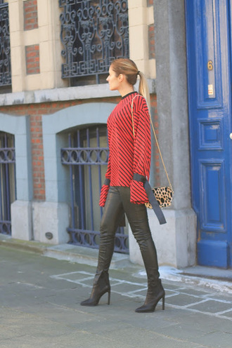 from brussels with love blogger blouse leggings shoes bag red blouse shoulder bag boots