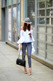 vogue haus,blogger,top,jeans,shoes,bag,hat,jewels,chanel,chanel bag,off the shoulder top,bell sleeves,pumps,high heel pumps,nude heels,skinny jeans,felt hat,tumblr,off the shoulder,white top,long sleeves,ruffle,denim,blue jeans,pointed toe pumps