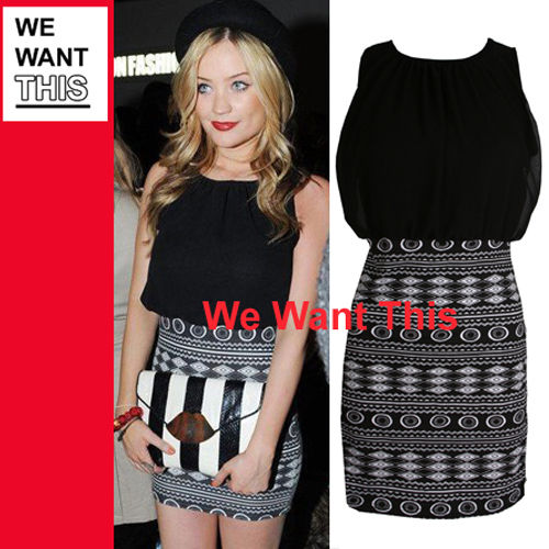 Celeb Inspired Party Dress with Lined Chiffon Top Bodycon Aztec Skirt Size 18 | eBay