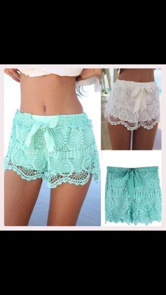 shorts teal lace shorts