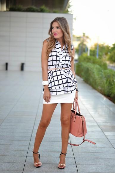 Belt blogger shoes skirt blouse bag mi aventura con la moda