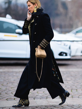 coat gold bag tumblr black coat military style pants black pants wide-leg pants boots black boots susanna boots buckle boots studded shoes bag statement earrings earrings jewels jewelry fashion week 2017 streetstyle