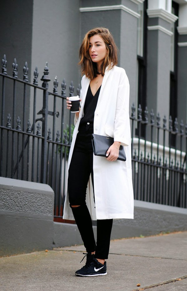 the chronicles of her jeans bag jewels coat boyfriend coat white coat long coat black tank top ripped jeans black sneakers blogger