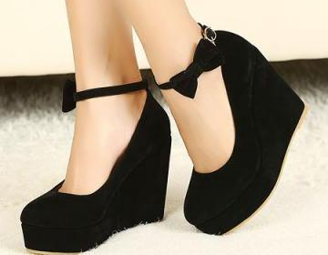 Wedges black suede ankle strap pump..