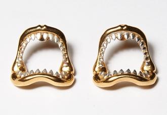jewels shark earings gold teeth jewelry jaws