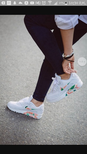 shoes white flowers air max nike shoes pink flowers green flower white sneakers