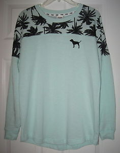 Secret Pink Mint Green Palm Tree Varsity Crew Pullover Sweatshirt ...