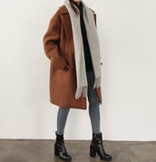 rust,winter coat,wool,wool coat,oversized,grey scarf,skinny jeans,black boots,minimalist,outfit,winter outfits,camel oversized coat,coat,brown coat,tumblr,tumblr outfit