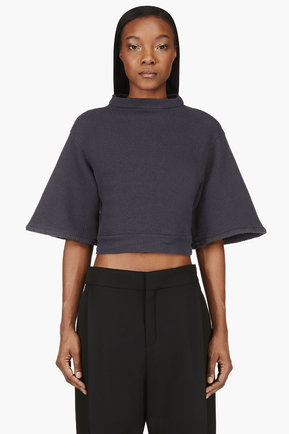 silent by damir doma slate blue textured cropped turmin sweater