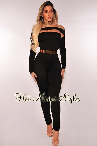 jumpsuit black belt off the shoulder