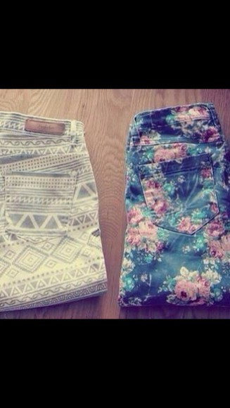 floral colorful jeans geometric